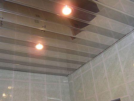 алюминиевый подвесной потолок в ванной комнате