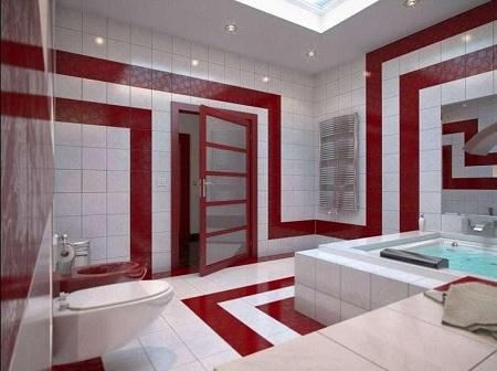 белая ванная с элементами красного