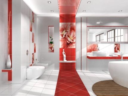 бело красный интерьер ванной комнаты