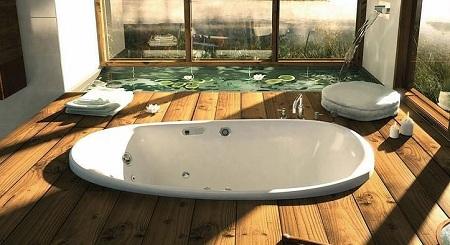 большая ванна в помещении
