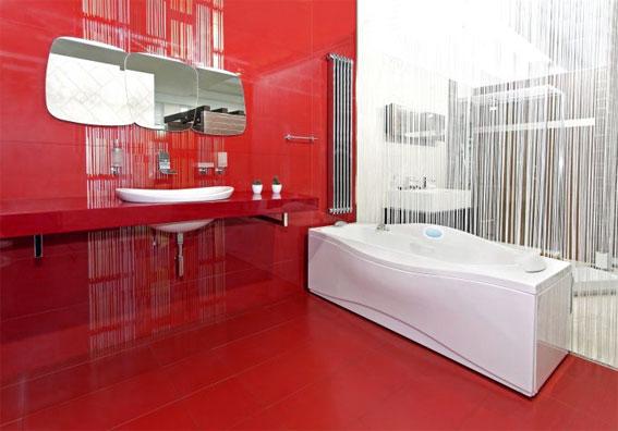вариант оформления ванной в красном цвете