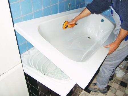 вставка вкладыша в ванну своими руками