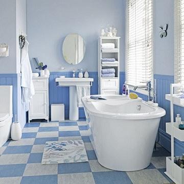 декоррование ванной в голубых тонах