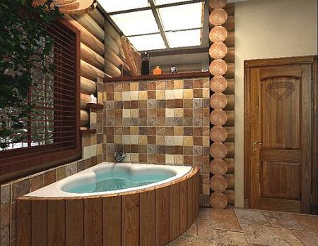 еще один вариант оформления ванной по стилю кантри