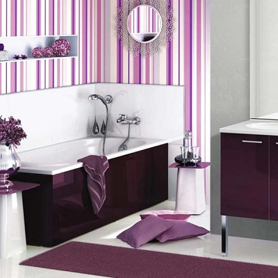 еще один стильный интерьер сиреневой ванной