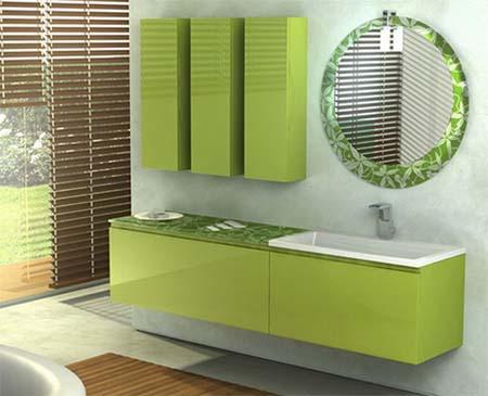 зеленая ванная в хай тек стиле