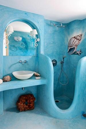 идея оформления ванной в морском стиле