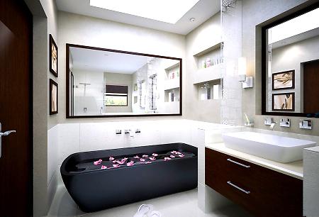 интерьер ванной в хай тек стиле