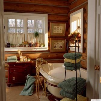 кантри в ванной комнате