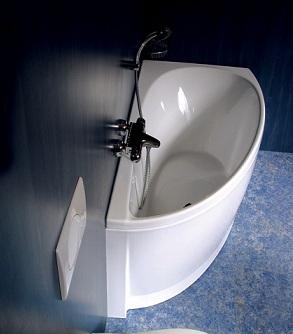 комфортная угловая металлическая ванна