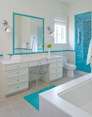 минимализм в голубой ванной