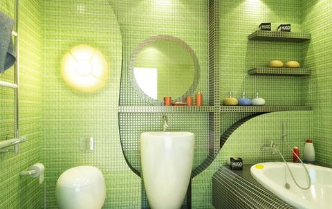 мозаика в зеленой ванной