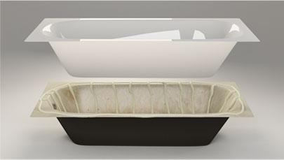 монтаж акрилового вкладыша для ванны