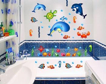наклейки в ванной