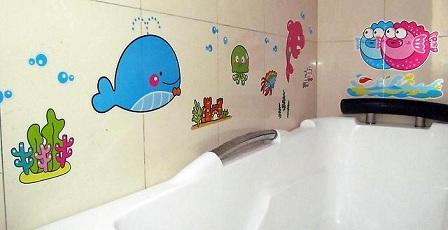 наклейки на плитку в ванной комнате
