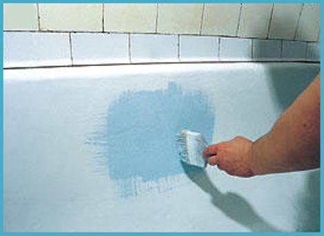нанесение состава на ванну