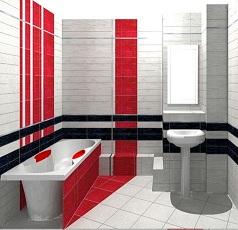 необычная раскладка плитки в ванной