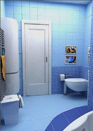 оформление голубой ванной