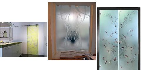 оформление стеклянной двери для ванной