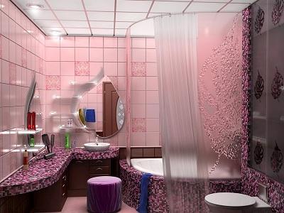 очень стильная сиреневая ванная комната