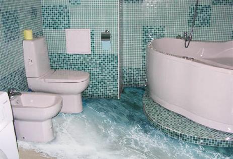 очень эффектный дизайн 3d пола в ванной