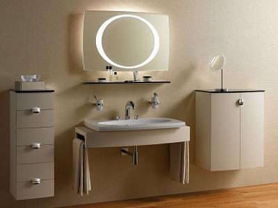 стильный умывальник в ванной комнате