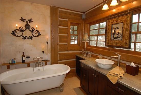 пример оформления ванной в стиле кантри