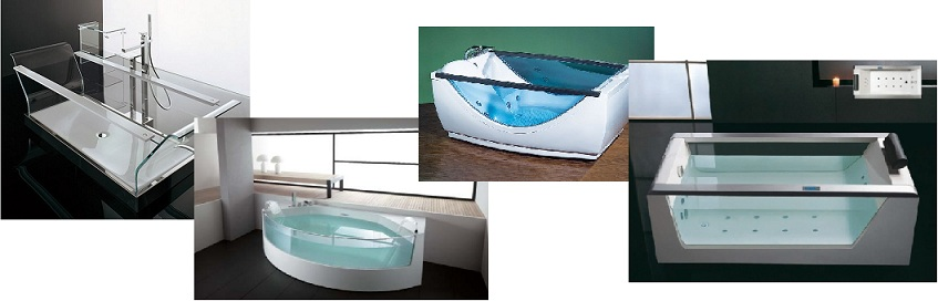 прозрачные ванны разных стилей