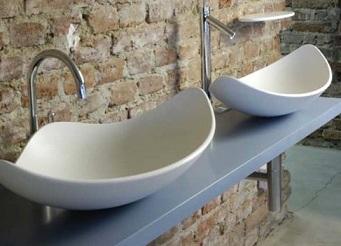 раковины из искусственного камня в ванной необычных форм