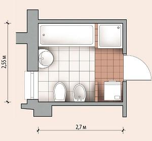 расположение ванны в комнате