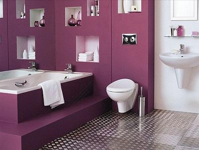 сиреневая ванная в арт деко стиле