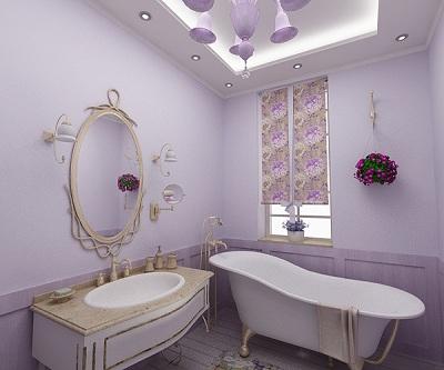 сиреневая ванная комната в классическом стиле