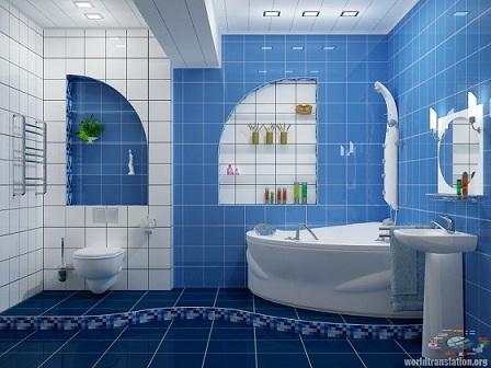 синяя ванная комната, облицованная плиткой