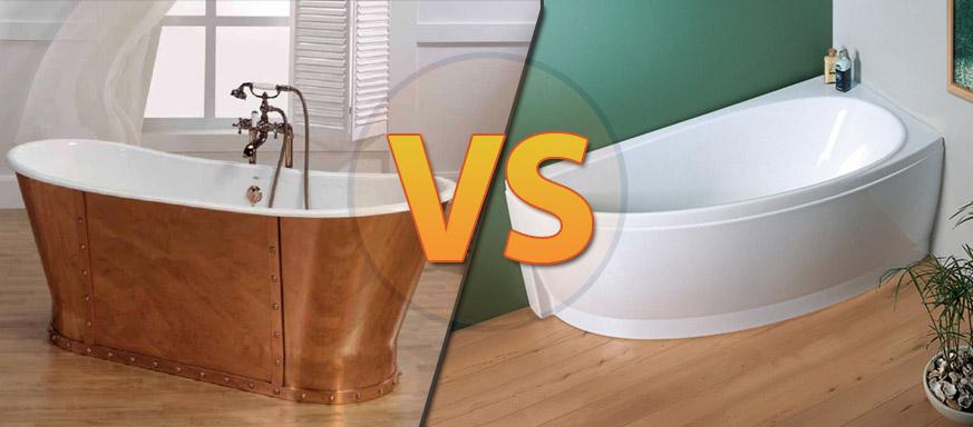 сравнение чугунных и акриловых ванн