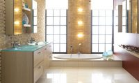 Обстановка, сантехника и отделка современной ванной комнаты