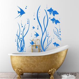 стильный трафарет в ванной