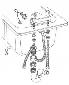 схема установки слива ванны