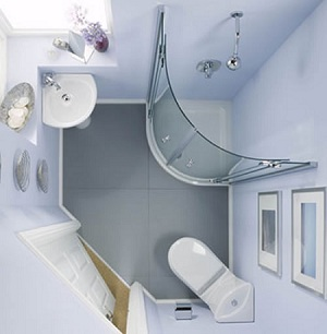 угловая раковина в маленькой ванной