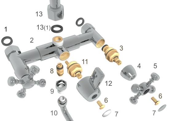 устройство двухрычажного смесителя