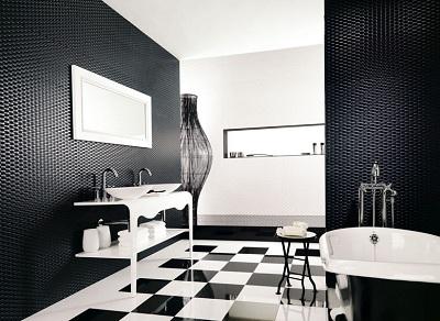 черно белая ванная в шахматном стиле