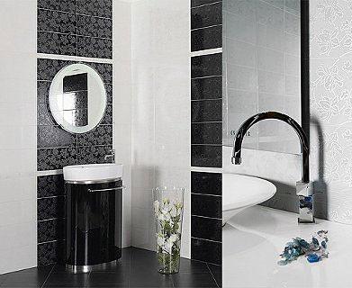 черно белый интерьер ванной комнаты