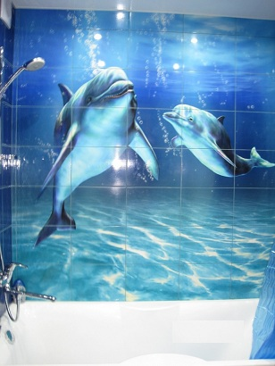 3д дельфины в ванной комнате