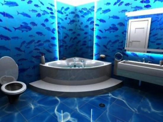 ванная комната в 3д в морском стиле